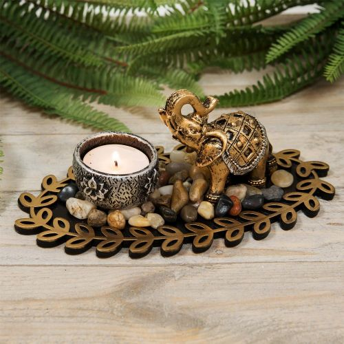 Elephant Figurine Candle Holder Decorative Home Ornament Bronze